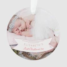 Baby's First Christmas newborn baby rustic photo Ornament Newborn Christmas, Babies First Christmas, 1st Christmas, Invitation Kits, Baby Shower Invitations, Custom Postage Stamps, Photo Ornaments, Rustic Baby, How To Make Ribbon