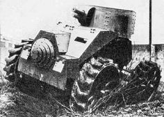 This 1925 Italian design had four distinctly large road wheels and mounted a 45 mm main gun. It's speed and cross country ability were insufficient, and only one prototype was produced. Army Vehicles, Armored Vehicles, Armored Car, Military Armor, Military Guns, Armoured Personnel Carrier, Heavy And Light, Cool Tanks, Tank Design