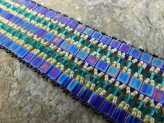 Bracelet in Blue Crystals and Tila Beads with by SierraBeader, $140.00