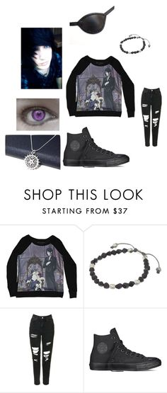 """""""Black Butler"""" by alexemoforever ❤ liked on Polyvore featuring M. Cohen, Topshop, Converse, Masquerade, men's fashion and menswear"""