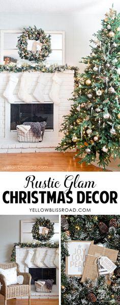 Gorgeous Rustic Glam Christmas Decor |Christmas Tree and Mantel | Christmas Decorating