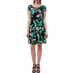 Μίνι φόρεμα με κοντά μανίκια σε μαύρο χρώμα, με σχέδια κατά μήκος του στις αποχρώσεις του πράσινου και του ροζ. Η ημιδιαφάνεια στο πανω μέρος προσθέτει ακόμη περισσότερο στιλ. Dresses For Work, Fashion, Fashion Styles, Fashion Illustrations, Trendy Fashion, Moda