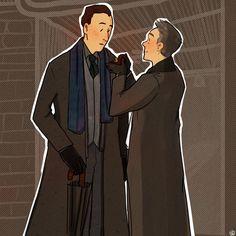 Mycroft Holmes / Gregory Lestrade / Mystrade / BBC Sherlock / fanart / fan art / umbrella / engagement / ring / proposal