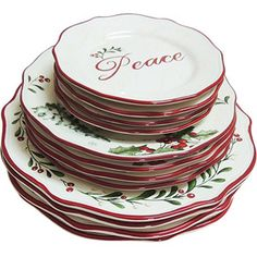 Better Homes and Gardens 12-Piece Dinner Plate Set, Holiday ...