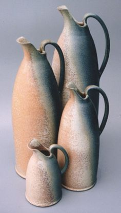 Ceramics by Fran Tristram at Studiopottery.co.uk - Jugspic, 2007. (Flared bottle / vase, cut w-added handle)