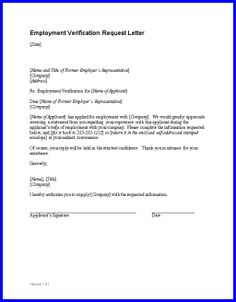 Employment Verification Letter - Sample employment verification letter confirming a person is employed by a company.