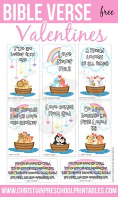 Free (ADORABLE!!) Bible Verse Valentine's Day Cards.  Print a set for children to give to friends, classmates and neighbors this February. Each features a scripture verse on Love.