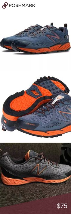 New balance men's trail running shoes goretex New Balance Trail Running Shoes for men size 10. New without box. Durable trail shoe featuring gusseted tongue to lock out debris and RockStop design for forefoot protection Breathable waterproof Gore-Tex membrane REVlite midsole cushioning New Balance Shoes Athletic Shoes