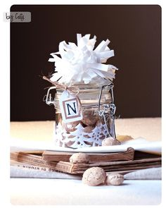 Christmas crafts ........... this would be cute with puppy chow or Oreo bark for the girls at work
