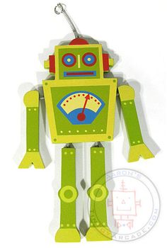 Green Wooden Robot : Tall Dancer : Retro Spring Ornament