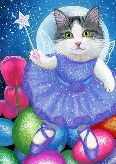 Kitten cat fairy Easter eggs moon fantasy original aceo painting art #Miniature