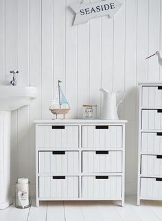 Beach free standing white bathroom cabinet furniture with 6 drawers. White New England and coastal style furniture and home decor accessories for your home Source by katyauna Small Bathroom Furniture, Diy Bathroom Decor, Cabinet Furniture, Bathroom Interior, Bathroom Inspo, Bathroom Standing Cabinet, Bathroom Floor Cabinets, Free Standing Cabinets, Nautical Furniture