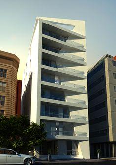 by Nour El Deen Khaled via Behance Minimalist Architecture, Facade Architecture, Small Buildings, Modern Buildings, Building Facade, Building Design, Front Wall Design, Modern Apartment Design, Facade Design