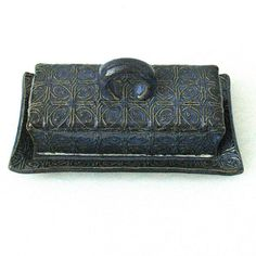 Blue Textured Tin Roof Ceramic Pottery by madhatterceramics, $48.00