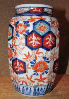 Antique Imari Vase Beveled Form Japanese Porcelain   eBay