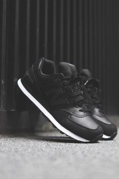New Balance 574 'Stealth' Black & White Midsole | on my Christmas wish list...