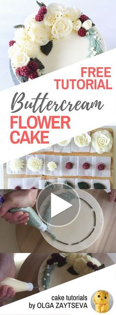 HOT CAKE TRENDS How to make Buttercream White Christmas wreath cake - Cake decorating tutorial by Olga Zaytseva. Learn how to make buttercream roses, pipe chrysanthemums and create this Christmas wreath cake in white.