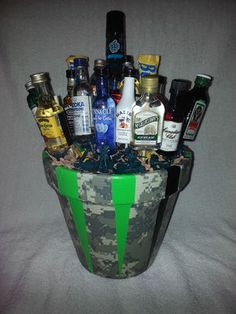 Liquor bouquet for a guy... what an awesome idea!