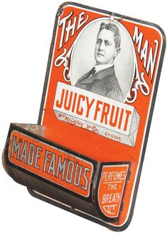 "Juicy Fruit ""The Man"" Tin Match Holder : Lot 1217"
