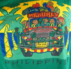 Mabuhay Philippines Jeepney T-Shirt Men's Medium Green M Adult Manila Jeep Tee