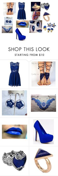 """""""Hell Yeah!!!!! It's Blue!!!!!"""" by sumaya-laflora ❤ liked on Polyvore featuring My Little Thing, Breckelle's, Carolyn Pollack/Relios, Style Tryst and Lazuli"""