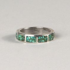 Vintage Turquoise Chip Inlay Sterling Silver Ring ( I used to make this ring.)