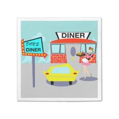 1950's Diner Disposable Napkins--#1950sparty #retro #diner #80thbirthday #75thbirthday #70thbirthday #Zazzle