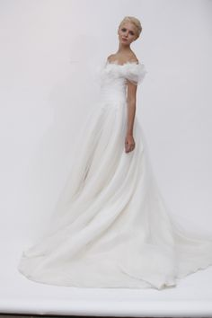 """""""Vanessa"""" wedding dress with frothy off the shoulder tulle sleeves from Marchesa. Marchesa Wedding Dress, Marchesa Bridal, Wedding Dress With Veil, One Shoulder Wedding Dress, Wedding Gowns, Marchesa Spring, Pretty Dresses, Beautiful Dresses, Amazing Dresses"""