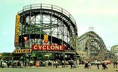 The Cyclone has become synonymous with Coney Island and is the iconic roller coaster for New Yorkers. After the famous first drop, passengers endure a harrowing barrage of twists and turns. It is oldest roller coaster of New York. Palisades Amusement Park, Coney Island Amusement Park, Amusement Park Rides, Park In New York, Brooklyn New York, New York City, Brooklyn Bridge, Roller Coasters, Carnival