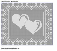 how to crochetig from a diagram key | 1081 Hearts and More Hearts Filet Crochet Doily Map Wall Pattern