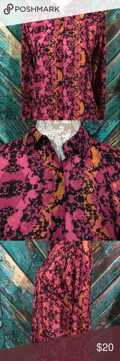 L'amour Nanette Lepore Shirt Small Open Back Size small. Sheer, open back, long sleeve, Button down. 100% polyester. 19 inches underarm to underarm. 26 inch length. Gently used no holes or stains. Nannette Tops Button Down Shirts
