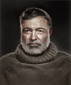 Ernest Hemingway, photo by by Yousuf Karsh, retouched by Mads Madsen
