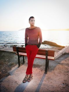 Red-y for the sunset Red Chinos, Red Y, Red Trousers, Lanvin, Summertime, Greece, Capri Pants, Polo, Sunset