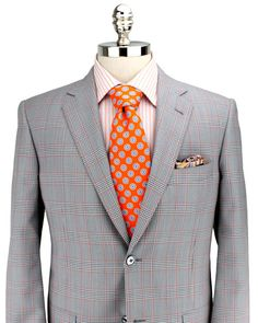 Belvest Grey and Tomato Plaid Sportcoat