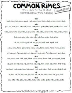 FREE Common Rimes, a.k.a. Word Families, Cheat Sheet by Hello Literacy