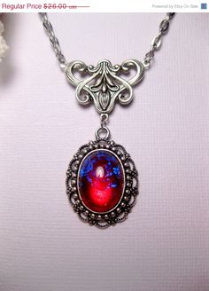 Back To School Sale Dragon's Breath Fire Opal Necklace Art Nouveau Pendant