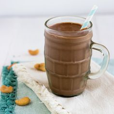 Chocolate Peanut Butter Protein Smoothie - Ready in 5 minutes and so creamy! You'd never know healthy can be so rich and tasty!   Foodfaithfitness.com   @Taylor   Food Faith Fitness