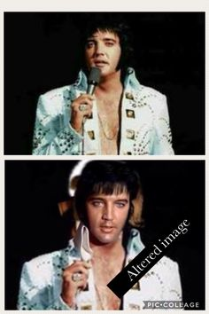 Original Elvis image (top) has been photoshopped/ altered (bottom image) with a different face and mic has been photoshopped out.