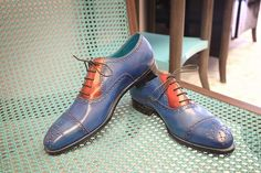 Dominique Saint Paul half brogues shoes, in two colours, hand coloured crust leather with patina.