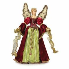 Melrose Pack of 2 Christmas Traditions Elegant Red and Green Angel Tree Toppers - Unlit Angel Christmas Tree Toppers