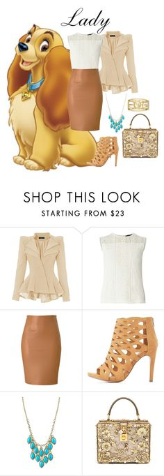 """""""Lady from Lady and the Tramp"""" by pie-epic ❤ liked on Polyvore featuring Dorothy Perkins, Delicious, 1928, Dolce&Gabbana and Nine West"""