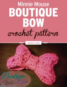 crochet bow pattern This bow crochet pattern is designed after Minnie Mouse's popular bow. This bow pattern measures inches wide using bulky weight yarn, but you can also use worst Crochet Bows Free Pattern, Crochet Bow Ties, Crochet Hair Bows, Easy Crochet Patterns, Crochet Yarn, Free Crochet, Crochet Headbands, Crochet Designs, Crochet Ideas