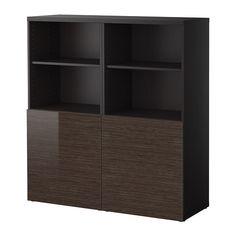 BESTÅ Aufbewahrung mit Türen - schwarzbraun/Tofta Hochglanz/braun - IKEA