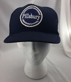 59282e83986a Pilsbury Vintage Madhatter Adult Hat Blue Trucker Fits All Snapback  Adjustable