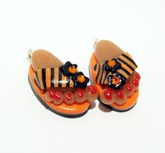 Flip Flops - Handmade Polymer Clay CHARMS with Feet by BarbiesBest on Etsy
