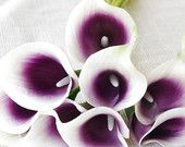 9 Purple Heart Natural Touch Calla Lily Stem or Bundle for Plum Silk Wedding Bouquets, Centerpieces, Decorations and more
