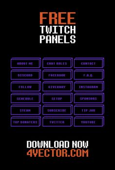 Free Twitch Panels and Tutorial on How to Make Twitch Panels Twitch Streaming Setup, Game Streaming, Instagram Schedule, Pixel Animation, How To Make Banners, Twitch Channel, Web Layout, Portfolio Website, Panel