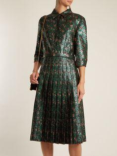 Floral-jacquard pleated dress | Prada | MATCHESFASHION.COM