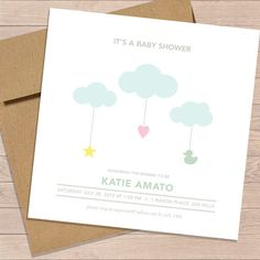 Cloud Strings Baby Shower Invite