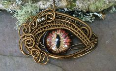 Gothic Steampunk Evil Cat Eye Pendant with by twistedsisterarts,